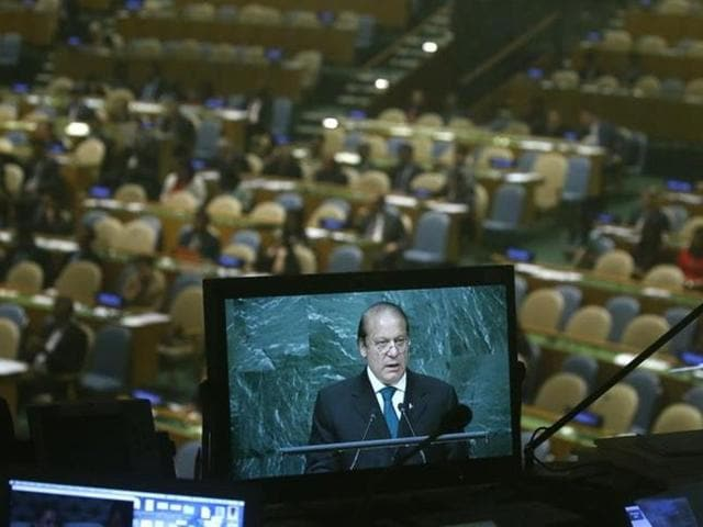 Prime Minister Nawaz Sharif of Pakistan is seen on a monitor in a booth as he addresses the United Nations General Assembly in the Manhattan borough of New York, U.S., September 21, 2016. REUTERS/Carlo Allegri