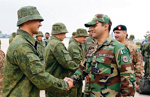 Russian troops after they arrived in Rawalpindi on Friday for the first joint exercise with the Pakistan Army.(ISPR)