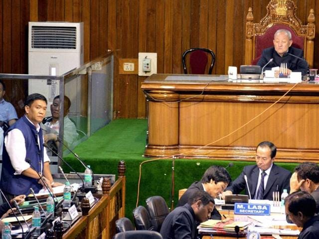 Chief Minister Arunachal Pradesh Pema Khandu speaks during the Assembly session at Naharlagun, Itanagar.