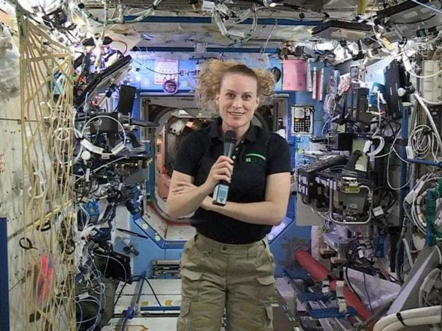 In this image from video made available by NASA, U.S. astronaut Kate Rubins speaks aboard the International Space Station during an interview on Thursday.