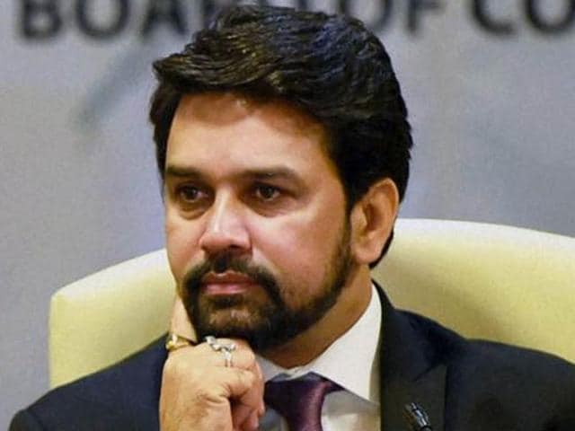 UP Governor Ram Naik and BCCI President Anurag Thakur felicitate former cricket captain Dilip Vengsarkar on the occasion of India's 500th Test match at Green Park in Kanpur on Thursday.