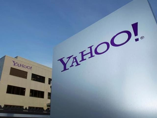 A Yahoo logo is pictured in front of a building in Rolle, 30km east of Geneva
