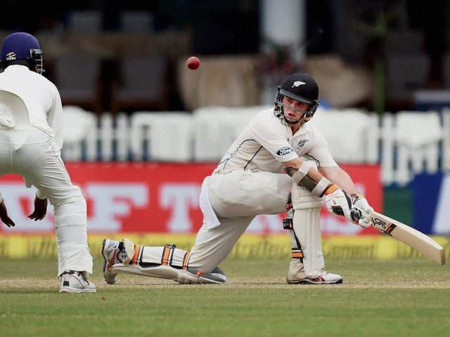 Kanpur: New Zealand's Tom Latham plays a shot on the second day of the first Test match against India at Green Park in Kanpur on Friday. PTI Photo by Atul Yadav (PTI9_23_2016_000069A)
