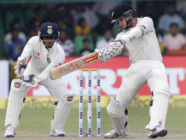 New Zealand's captain Kane Williamson bats on the second day of their cricket test match.