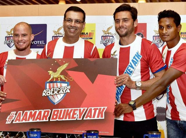 Atletico de Kolkata owners and defender Arnab Mondal launch the team's new anthem.