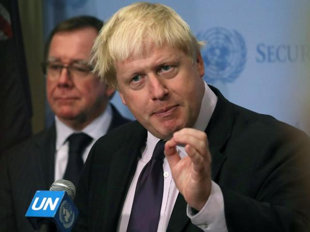 Britain's foreign secretary Boris Johnson at a press briefing after a UN Security Council session during the 71st Session of the UN General Assembly in Manhattan, US, on September 22, 2016.