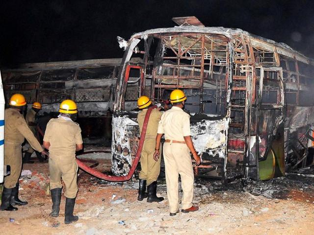Tamil Nadu-bound buses were set on fire during a protest over the Cauvery water dispute, in Bengaluru.