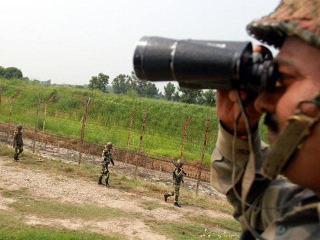 BSF men on the border about 35 km from Jammu on Friday.