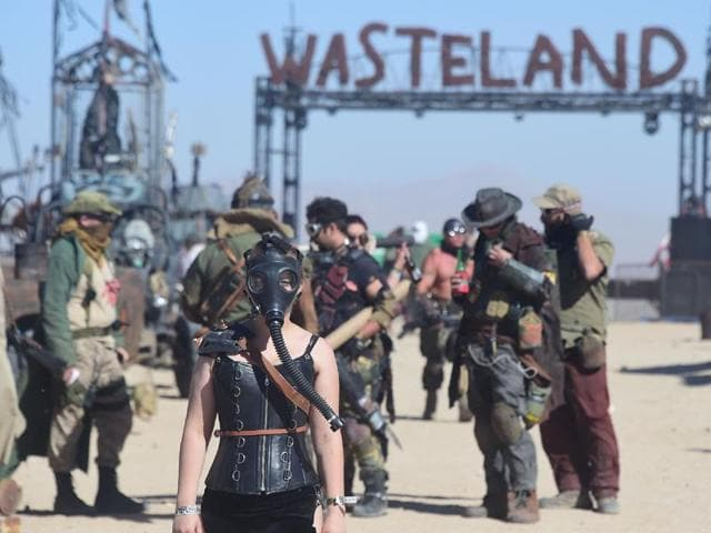 Festival goers attend the first day of Wasteland Weekend in the high desert community of California City in the Mojave Desert.