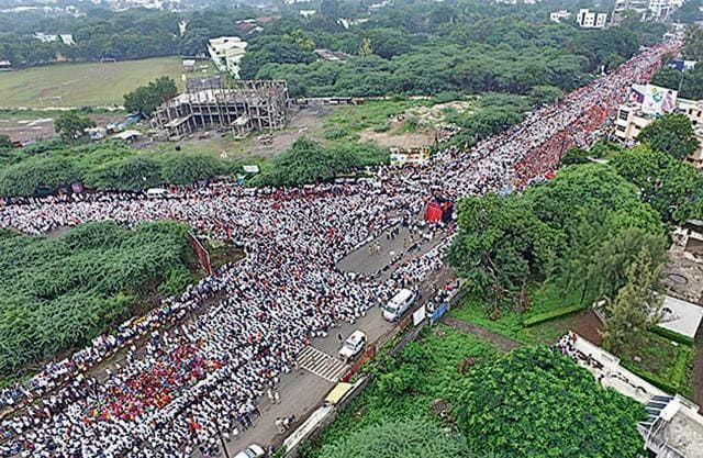 The Maratha rally that began at Nowrosjee Wadia College in Pune and terminated at the district collectorate office.