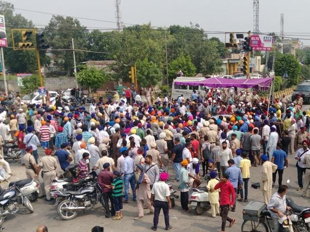 A protest over sacrilege of holy book in Jalandhar on Saturday.