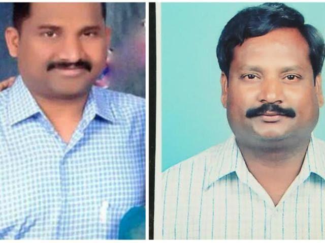 T Gopi Krishna (left) and Balaram Kishan landed at Hyderabad's Rajiv Gandhi International Airport after midnight.
