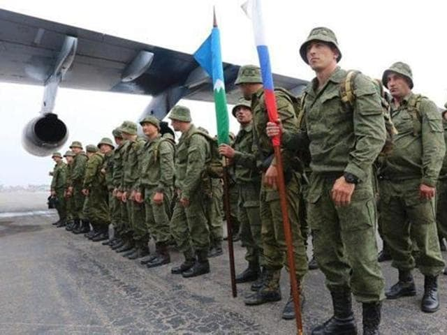 Russian troops after they arrived in Rawalpindi on Friday for the first joint exercise with the Pakistan Army.