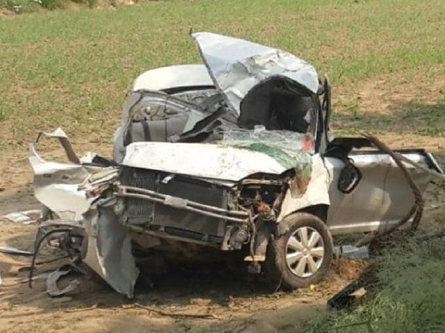 Mangled remains of the car in Kotkapura on Saturday.