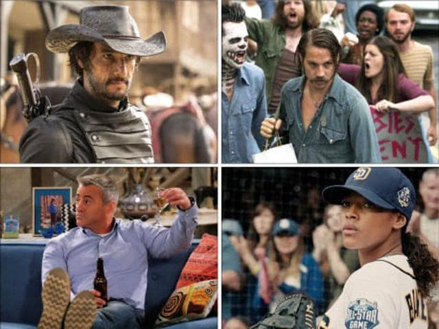 (Clockwise from left)  Man with a Plan, Westworld, Quarry and Pitch