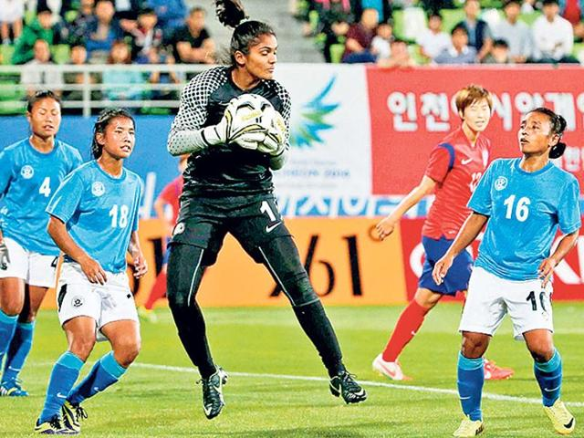 Indian national women's football team goalkeeper Aditi Chauhan during a match at the Incheon Asian Games.