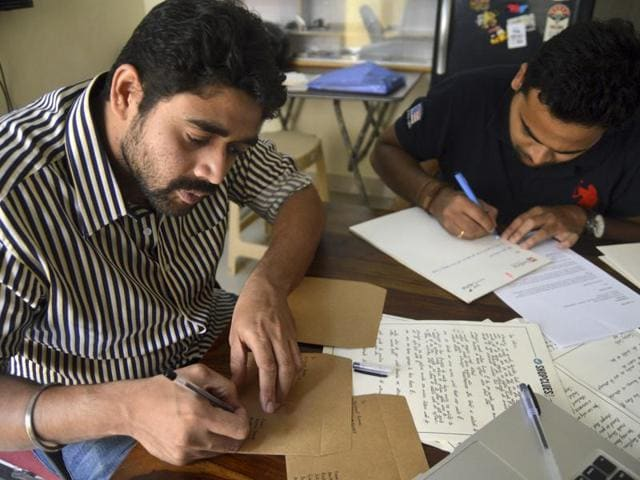 Founders of The Indian Handwritten Letter Co. Ankit Anubhav (left) and Jaswanth Cheripally.(Kashif Masood/HT Photo)