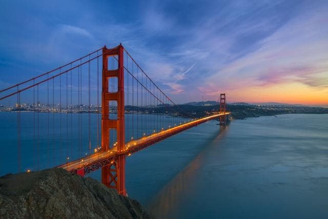 Golden Gate Bridge after sunset, San Francisco California