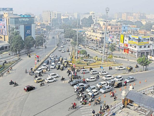 An aerial view of the Jalandhar city.
