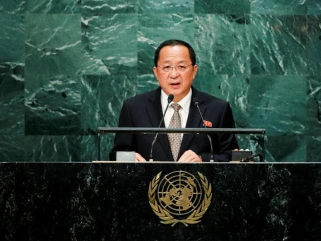 North Korean foreign minister Ri Yong Ho addresses the United Nations General Assembly in New York on Friday.