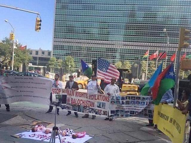 Free Balochistan Movement members hold a protest against Pakistan outside the UN headquarters in New York.(PTI File Photo)