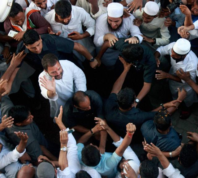 Congress vice president Rahul Gandhi visits an Islamic seminary in Lucknow on September 23, as he prepares his party for elections in Uttar Pradesh next year.