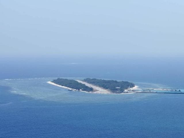An aerial photo shows the view of Itu Aba, which the Taiwanese call Taiping, at the South China Sea.