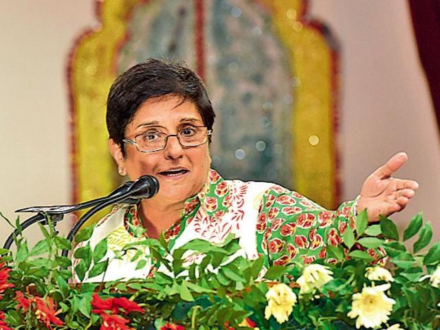 Puducherry governor Kiran Bedi speaking during the 4th national seminar on Dr BR Ambedkar at Guru Nanak Dev University in Amritsar on Friday.