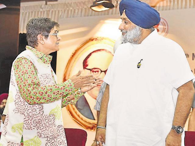 Deputy CM Sukhbir Singh Badal with Puducherry lieutenant governor Kiran Bedi during a seminar to mark the 125th birth anniversary of BR Ambedkar in Amritsar on Friday.