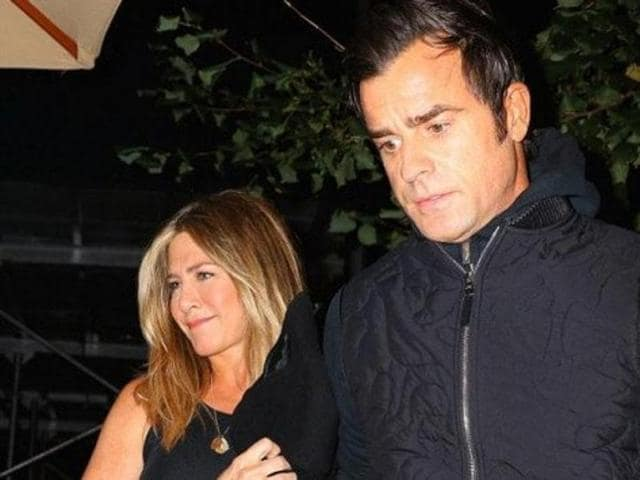 The couple wore colour coordinated black outfits, with Aniston wearing cut sleeves top, pants and heels and the Zoolander star sporting a sweatshirt and dark grey jeans.