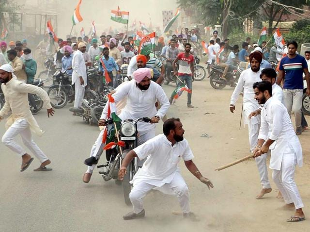 The incident took place when the bike rally, led by District Congress Committee (rural) president Gurjit Singh Aujla, reached the community centre at Guru Ka Bagh.