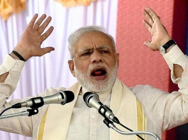 Prime Minister Narendra Modi addressing a public rally at the BJP National council meeting at Kozhikode on Saturday.