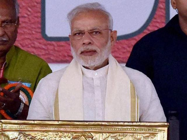 Prime Minister Narendra Modi during a rally in Kozhikode.