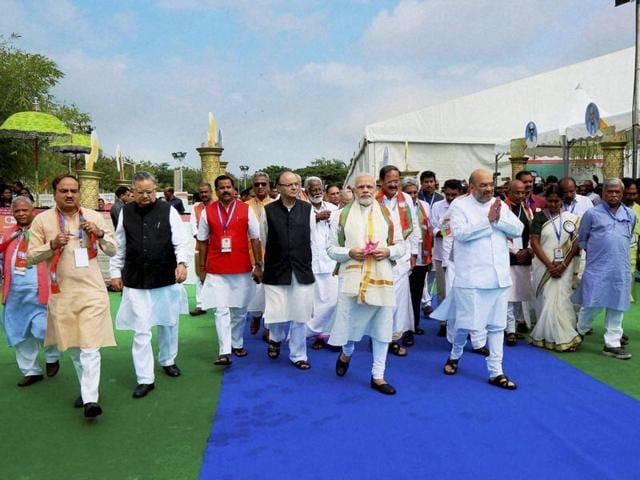 Prime Minister Narendra Modi and BJP national president Amit Shah with other party leaders at the BJP National Council in Kozhikode, Kerala.