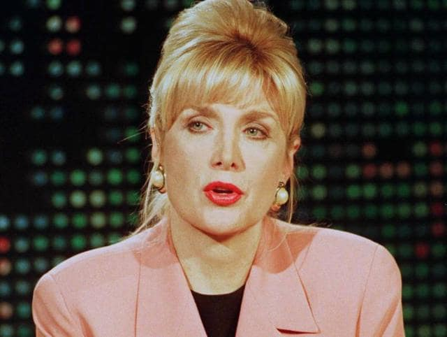 Gennifer Flowers during a live interview on CNN's Larry King Live show in Hollywood,California.