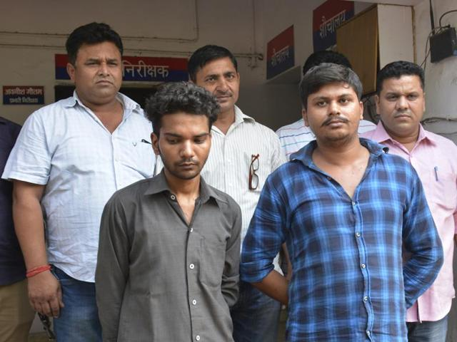 Police arrested Yogesh Singh Jatav alias Bacchi and Ashish Chauhan, and recovered a stolen car and a bike from them.(Sakib Ali/HT Photo)