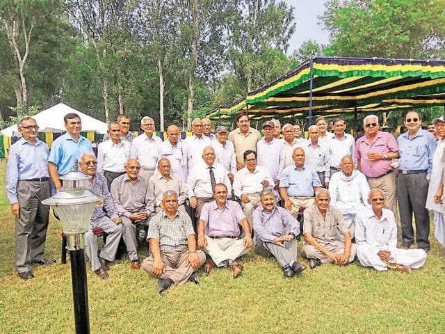 Officers and JCO veterans of the 1965 War and others who followed them in upholding the glorious name of 3 Jat at the 50th anniversary celebrations of the victory won at Dograi with grit and valour photographed at the JCO's mess.