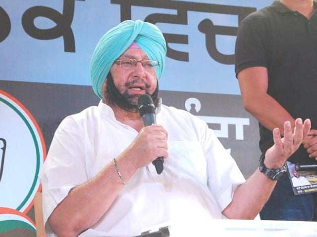 PPCC president Captain Amarinder Singh interacting with people in Garhshankar on Sunday.