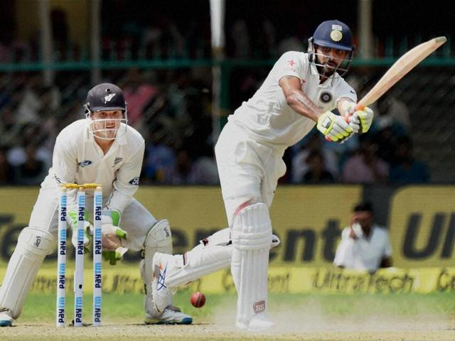 India's Rohit Sharma plays a shot during the 4th Day of first test match against New Zealand.(PTI Photo)