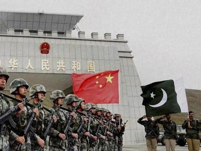 Chinese and Pakistan troops after the launch of their first joint patrolling of the border connecting PoK with Xinjiang province, China.