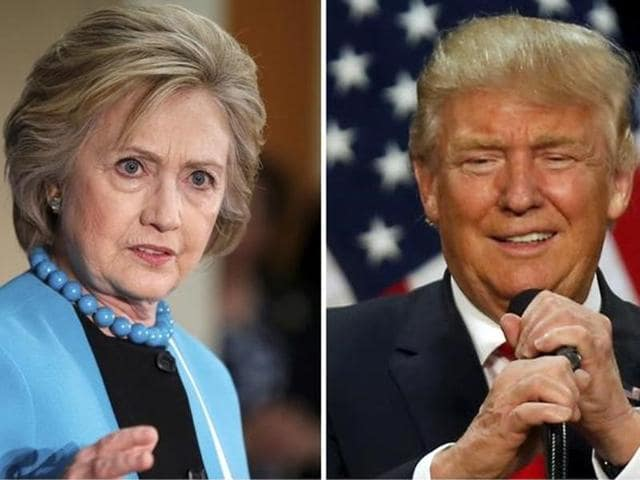 A combination photo shows US Democratic presidential candidate Hillary Clinton (left) and Republican US presidential candidate Donald Trump (right).