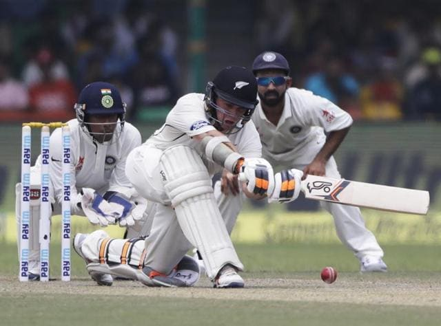 New Zealand's Tom Latham bats during the second day of their cricket test match against India.