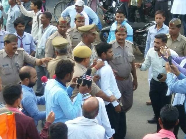 A man was detailed for hurling a shoe at Congress vice-president Rahul Gandhi in Sitapur, Uttar Pradesh.