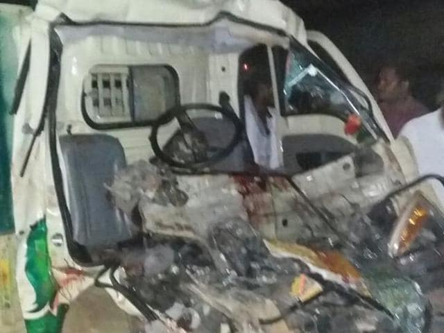 The mangled remains of the mini van that collided with a lorry in Ariyalur district in Tamil Nadu