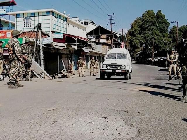 Security personnel on the vigil following the imposition of curfew in Kishtwar area of Doda district in Jammu and Kashmir.