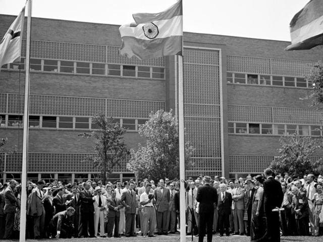 General view of the ceremony at United Nations Headquarters as the new national flag of India was hoisted on 15 August 1947 to take its place among colours of 54 other member states.
