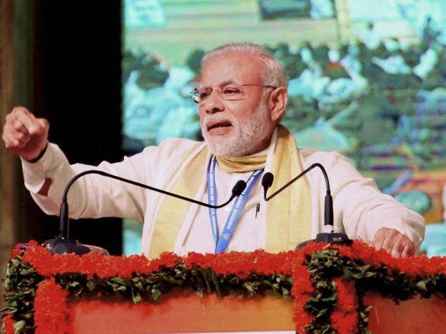 Prime Minister Narendra Modi addresses during BJP's national council meeting at Kozhikode on Sunday.