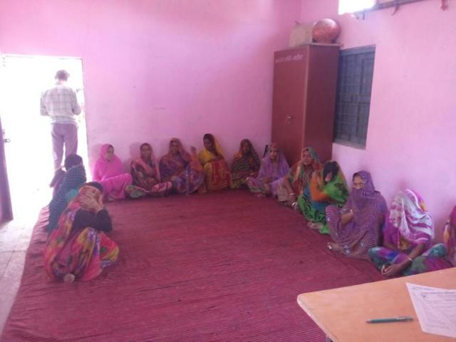 Women members of self-help groups at a meeting with Agar zilla panchayat chief executive officer in Chapariya village.