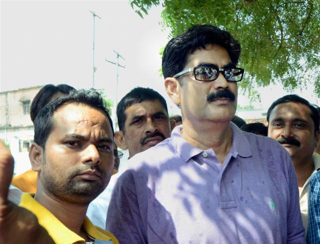 Former RJD MP Mohammad Shahabuddin with his supporters in Siwan.