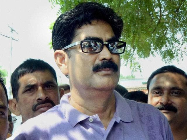 Mohammad Shahabuddin with his supporters in Siwan.